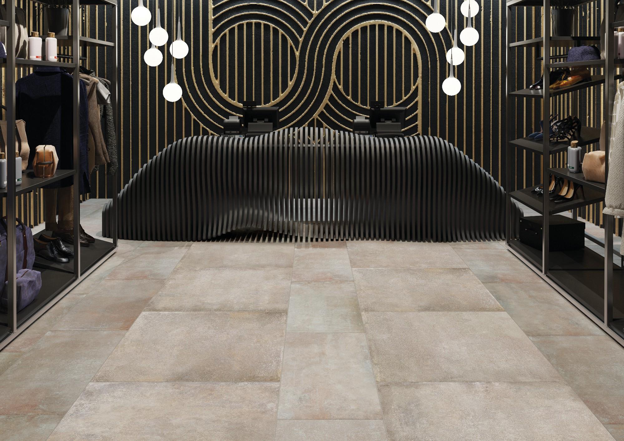 Плитка под бетон в интерьере: фото 8