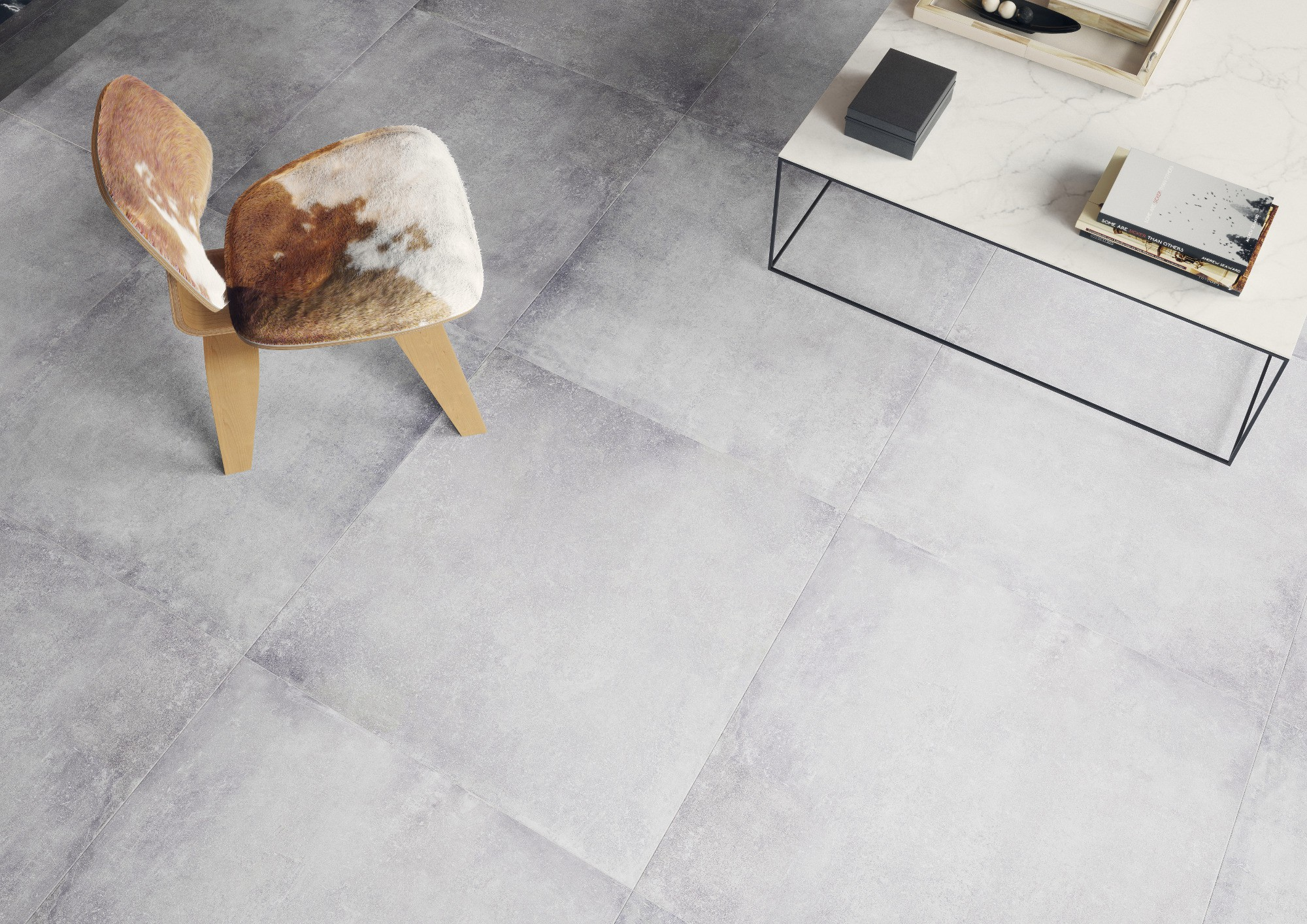Плитка под бетон в интерьере: фото 11