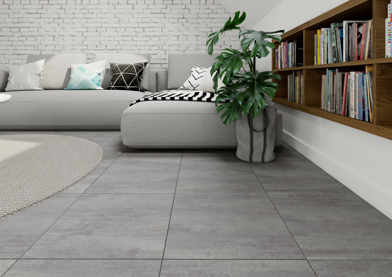 Плитка под бетон в интерьере: фото 5