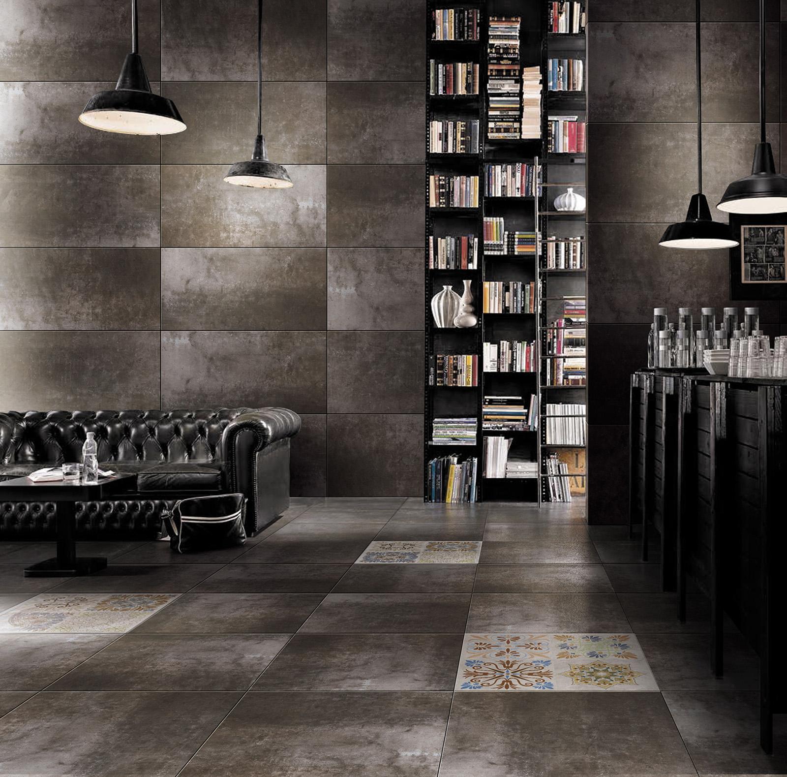 Плитка под бетон в интерьере: фото 6