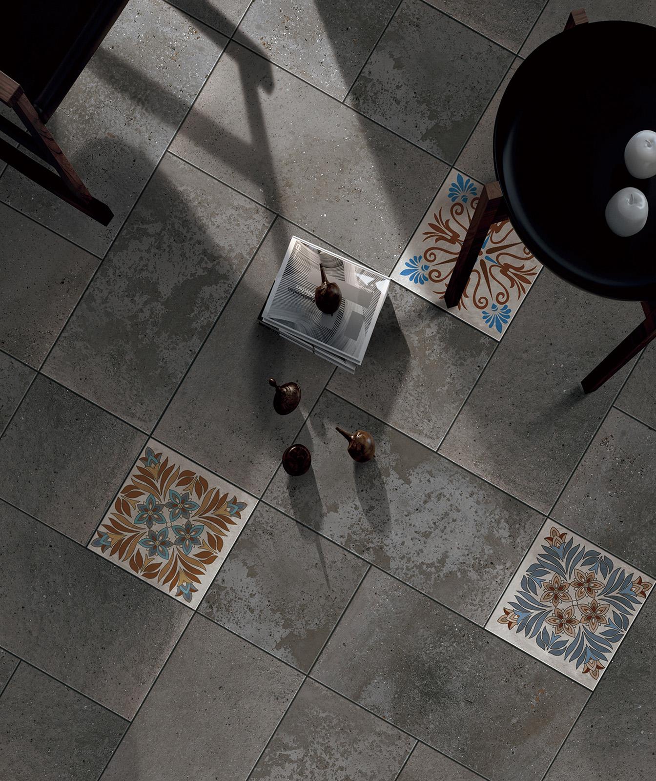 Плитка под бетон в интерьере: фото 0