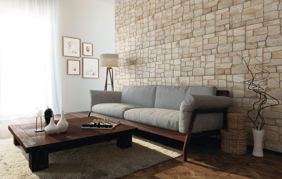 плитка в комнате под камень